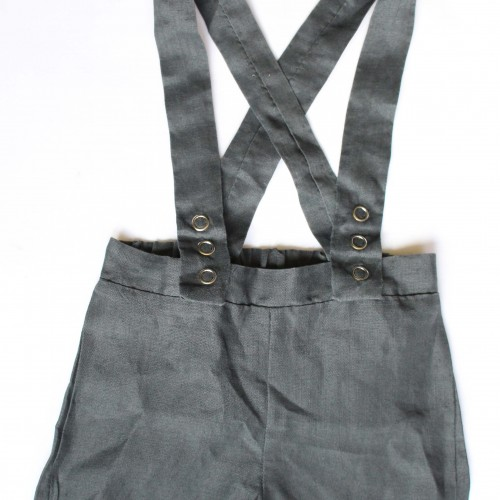 Grey suspender shorts